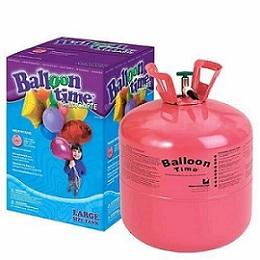 Cilindro de gás hélio, usado para encher balões de festa.