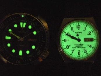 Relógios de pulso luminescentes