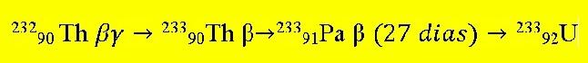 Equação de transformação do tório em urânio
