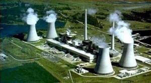 Vista aérea de uma usina nuclear